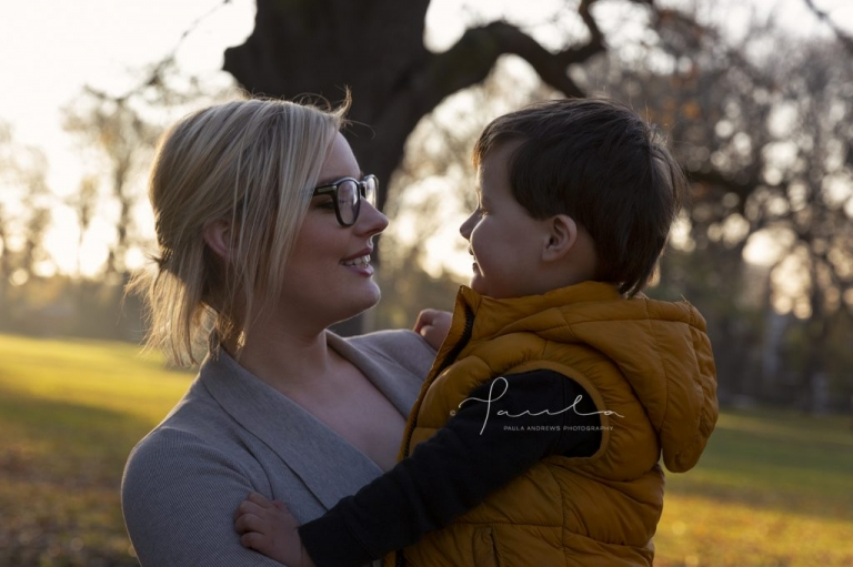 Mother and son in Carlton Gardens
